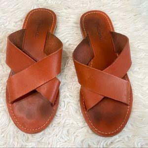 MADEWELL Raven Tan Leather Criss Cross Sandals